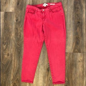 Boho Skinny Ankle Jeans in red